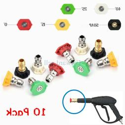 10 Pack High Pressure Washer Spray Nozzle Tips Variety Degre