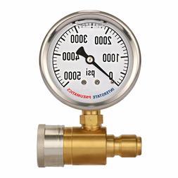 2-1/2 Inch Pressure Washer Pressure Gauge Kit 3/8 Inch Quick