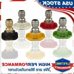 """5X High Pressure Washer Spray Nozzle Tips Jet 1/4"""" Quick Con"""