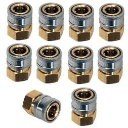 """Pressure Washer Hose Quick Coupler Socket 1/4"""" FPT - 10 Pack"""
