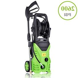 Jaketen Electric Pressure Washer, 2600 PSI 1.76 GPM Rolling