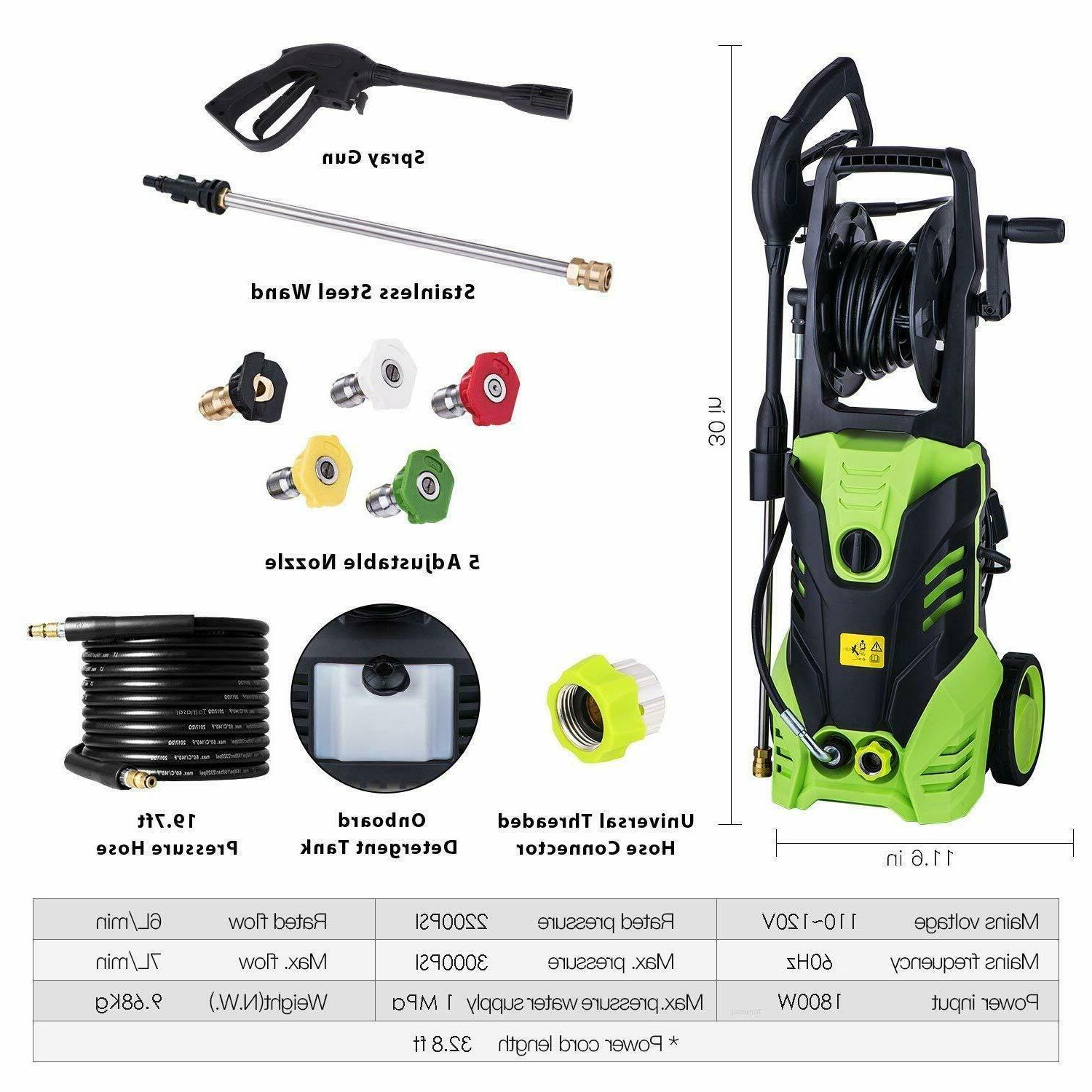 3000PSI 1.8GPM Electric Washer Cleaner Sprayer~