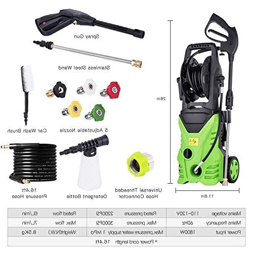 Flagup Pressure Washer, Machine with Nozzles, 1800W Wheels,1.80 GPM