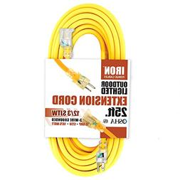 25 Foot Lighted Outdoor Extension Cord - 12/3 SJTW Heavy Dut