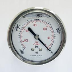 """2"""" Oil Filled Pressure Gauge - 1/4"""" NPT - Center Back Mount"""