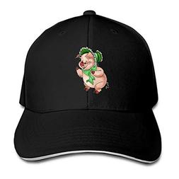 Peaked hat Funny Pigs Printed Sandwich Baseball Cap for Unis